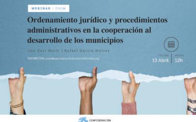 WEBINAR – Ordenamiento Jurídico y procedimientos administrativos  en la Coop al Desarrollo de los Municipios – 13 de abril 12h – CONFOCOS